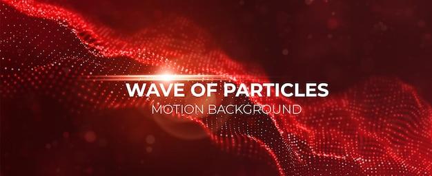 Onda de partícula vermelha dinâmica estrutura digital de fluxo paisagem de malha ou tecnologia de dados de grade