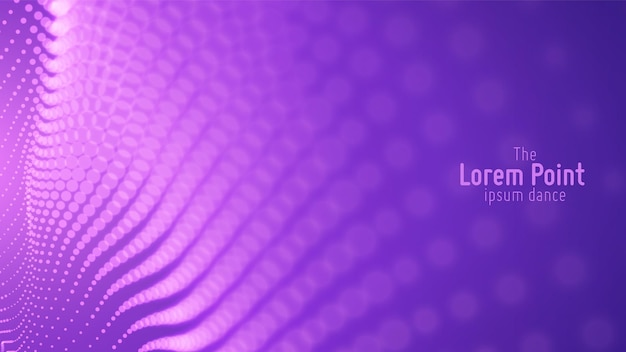 Onda de partícula violeta abstrata, matriz de pontos, profundidade de campo rasa. ilustração futurista. respingo digital de tecnologia ou explosão de pontos de dados. ponto de dança de forma de onda.