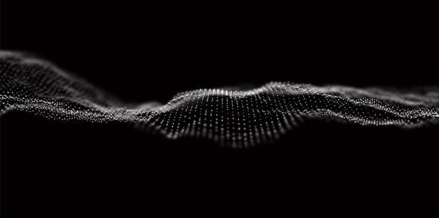 Onda de partículas brancas fundo de fluxo de tecnologia abstrata ilustração em vetor futuro