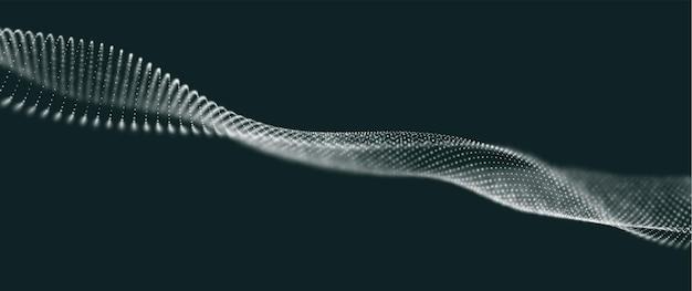 Onda de partículas brancas fundo de fluxo de tecnologia abstrato
