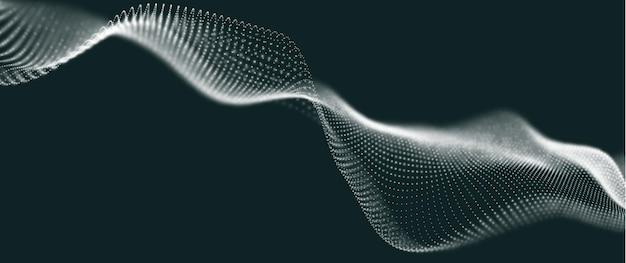 Onda de partículas brancas ilustração em vetor futuro
