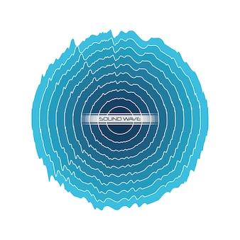 Onda de som azul em forma de círculo sobre fundo branco