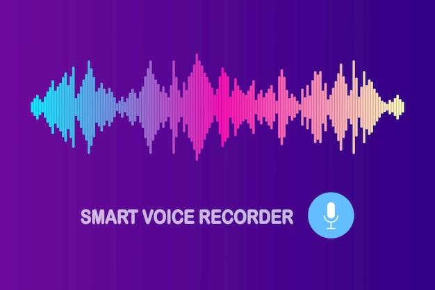 Onda de som de áudio do equalizador. frequência da música no espectro de cores Vetor Premium