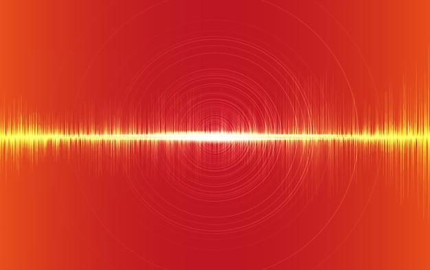 Onda de som digital em fundo laranja, onda de tecnologia para estúdio de música.