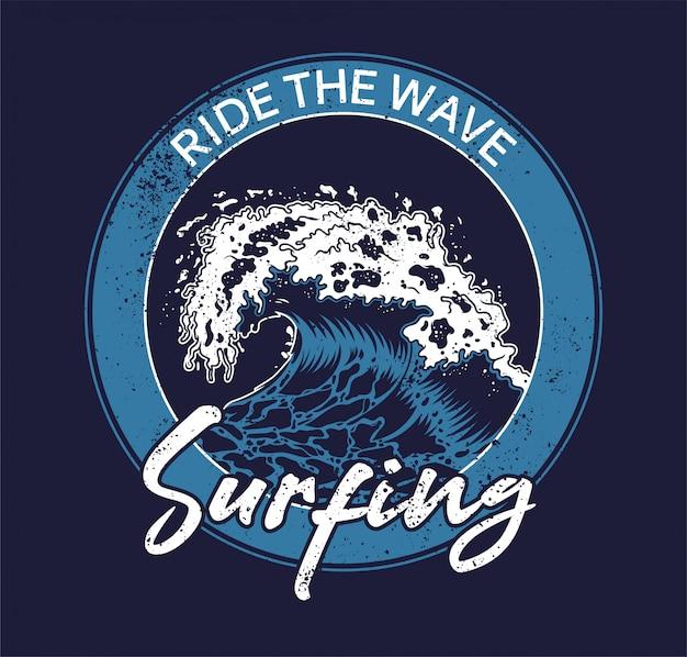 Onda de tsunami azul grande oceano mar