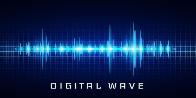 Onda digital, luz de brilho oscilante de ondas sonoras, fundo abstrato de tecnologia