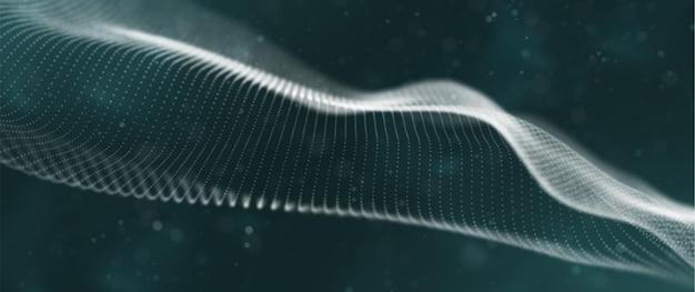 Onda dinâmica de partículas brancas visualização sonora abstrata