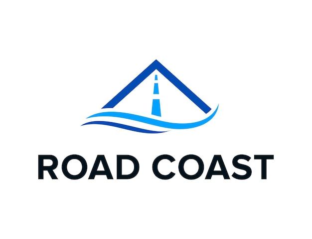Onda do mar da costa com estrada simples e elegante design de logotipo moderno