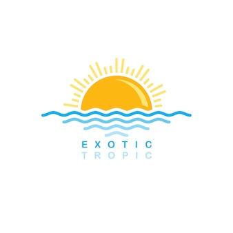 Onda do mar pôr do sol tema simbólico - ilustração de arte em vetor