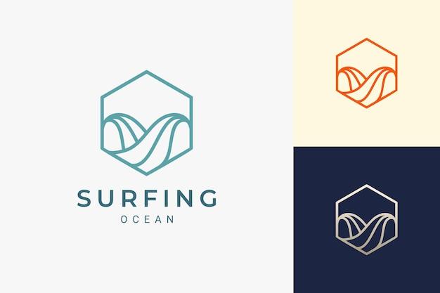 Onda do oceano ou logotipo do surf em forma de hexágono simples