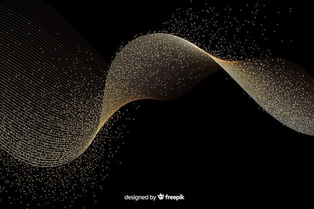Onda dourada abstrata em fundo escuro