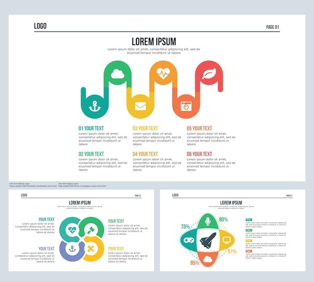 Onda, elips, rotação, esfera, conjunto de apresentação slide e powerpoint template