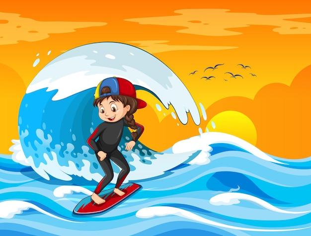 Onda grande na cena do oceano com uma garota em uma prancha de surf
