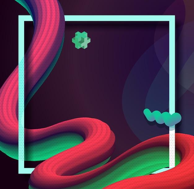 Onda líquida 3d abstrato colorido