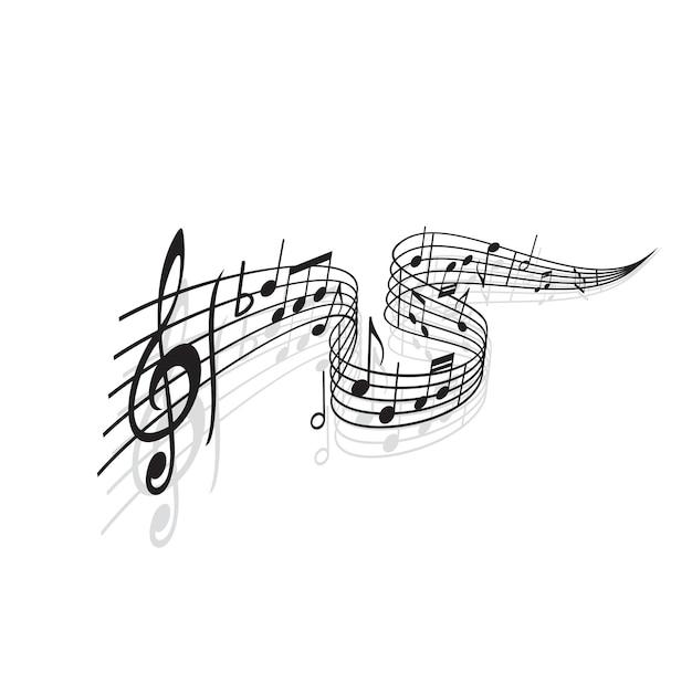 Onda musical com notas vetoriais de partituras e sombras. redemoinho preto da pauta ou pauta musical com melodia ou notas da música, clave de sol, símbolo de tom plano e linhas de compasso, temas de notação musical