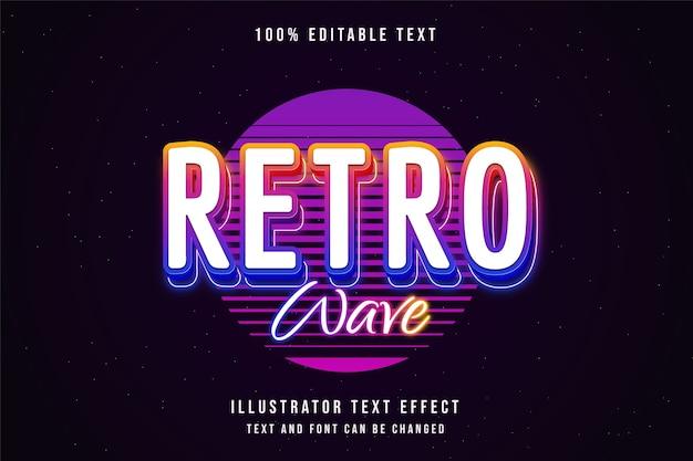 Onda retro, efeito de texto editável em 3d gradação amarela rosa roxo azul estilo de texto neon
