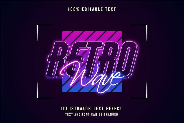 Onda retro, efeito de texto editável em 3d gradação rosa estilo de texto roxo azul neon