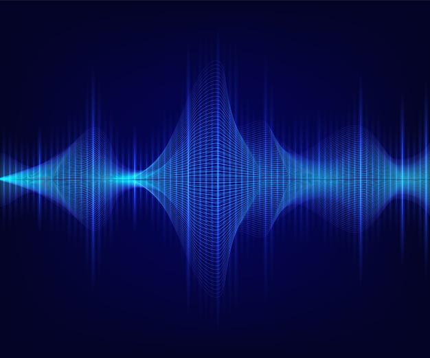 Onda sonora brilhante azul em fundo escuro.