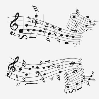 Onda sonora com notação musical