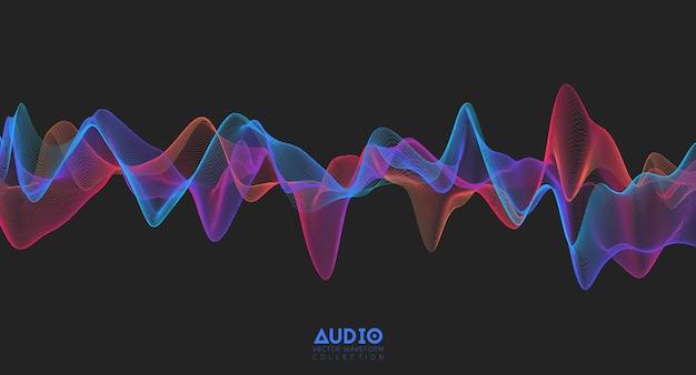 Onda sonora de áudio 3d. oscilação de pulso de música colorida.