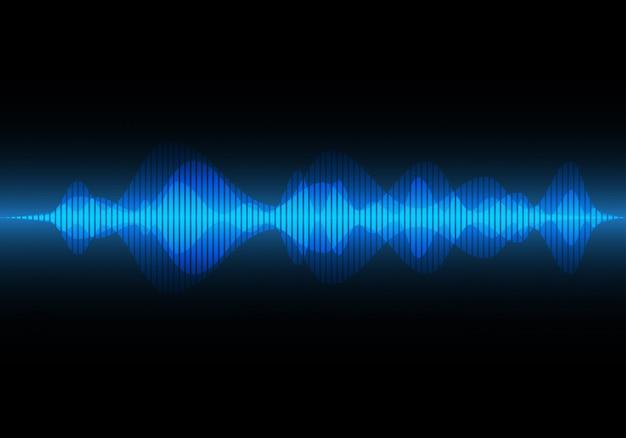 Onda sonora de luz azul abstrata, fundo de música