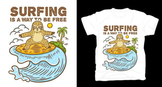 Onda surfando preguiça e ilustração de ilha com design de t-shirt de tipografia