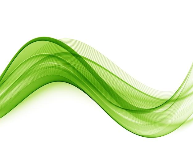 Onda transparente colorida abstrata. onda verde