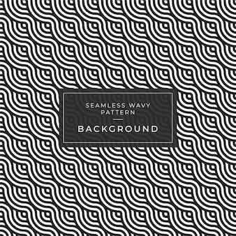 Ondas 3d listradas preto e branco abstratas modernas. ilusão de óptica. padrão de arte de onda do oceano para impressão banner e web