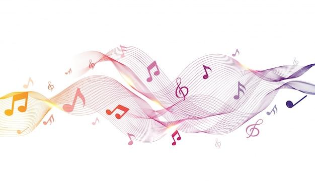 Ondas abstratas brilhantes com notas musicais.