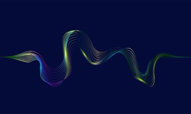 Ondas abstratas com linhas dinâmicas de luz colorida