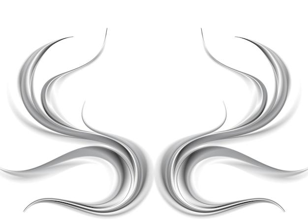 Ondas abstratas metálicas em fundo branco. ilustração vetorial