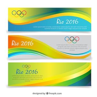 Ondas banners de jogos olímpicos