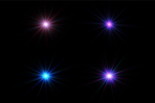 Ondas cintilantes com efeito de luz isoladas em preto