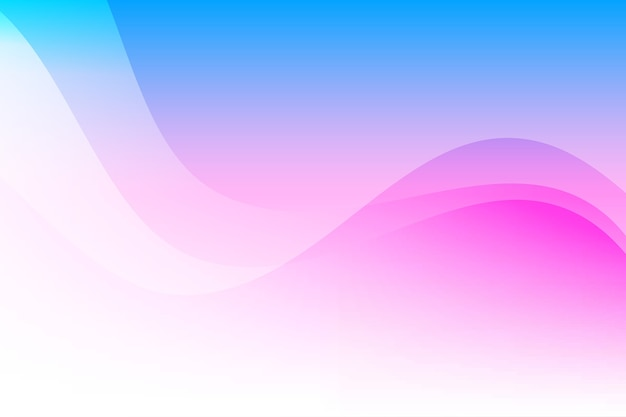 Ondas coloridas abstratas em azul e rosa com fundo de espaço em branco
