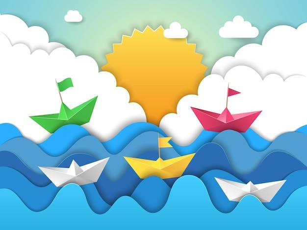 Ondas de água de origami com sombras da paisagem estilizada abstrata do navio à vela de papel cortado.