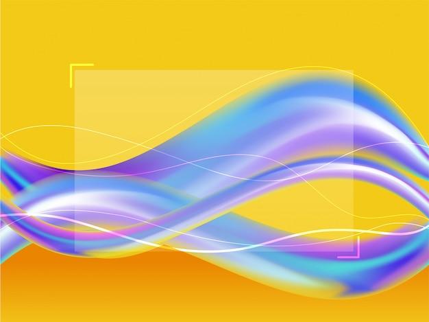 Ondas de cor gradiente com efeito de desfoque em fundo amarelo.