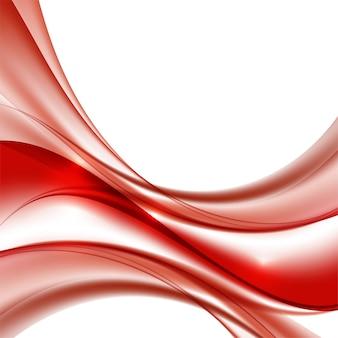 Ondas de cor vermelha na ilustração vetorial de fundo branco