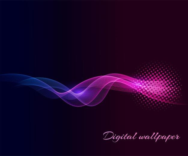 Ondas de cores brilhantes sobre fundos escuros