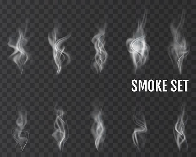 Ondas de fumaça de cigarro realistas. vetor.