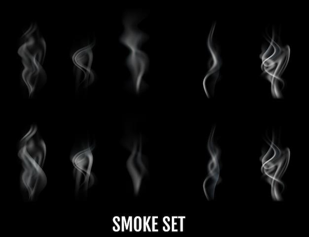 Ondas de fumaça de cigarro realistas. .