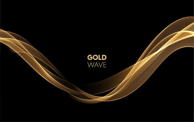 Ondas de fumaça de ouro abstratas. elemento de design de linhas em movimento douradas brilhantes em fundo escuro para vale-presente, cartão e desconto. ilustração vetorial