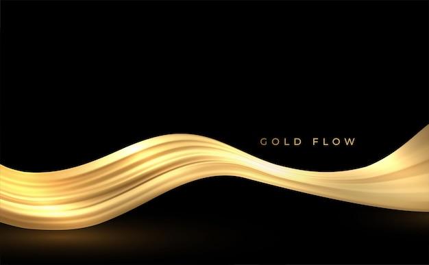Ondas de fumaça douradas abstratas Vetor Premium