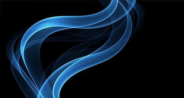 Ondas de fumaça turquesa abstrato azul. elemento de design de linhas brilhantes em fundo escuro para papel de parede, panfleto, cartaz, cartão e voucher de desconto. ilustração vetorial