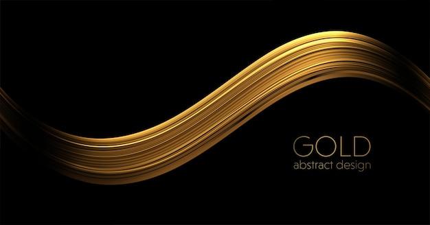 Ondas de ouro abstratas elemento de design de linhas móveis douradas brilhantes com efeito de glitter em fundo escuro.
