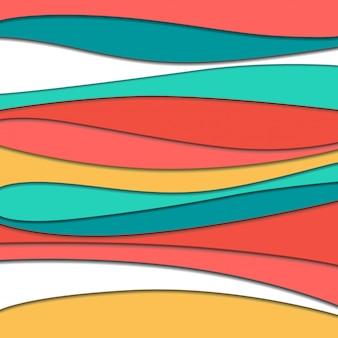 Ondas de papel do abstrato dos desenhos animados da arte. papel esculpir o fundo.