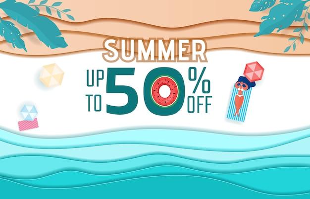 Ondas de papel e design de publicidade de venda de praia.
