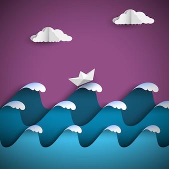 Ondas de papel origami com nuvens e navio