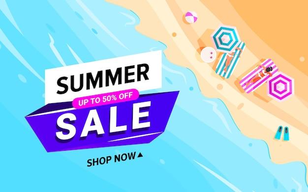 Ondas de praia com banner de venda de verão colorido na moda