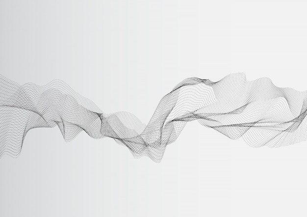 Ondas de rede de ponto branco cinza abstrato