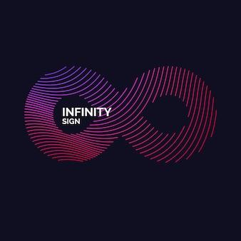 Ondas dinâmicas formam um sinal de infinito. ilustração vetorial.